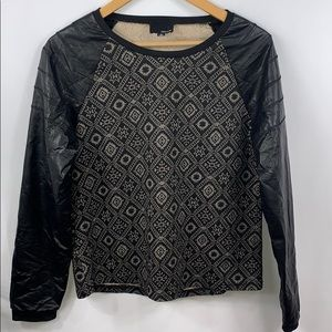Greylin faux leather long sleeve top women's small